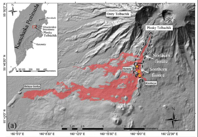 Map of the lava flows after Tolbachik eruption 2012-2013. Photo via Edwards and others.