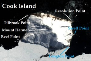 Satellite image of Cook Island. IMAGE: Landsat 8/EOS Data Analytics. Annotated by René Goad.