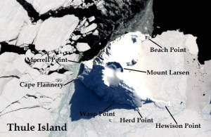Satellite image of Thule Island. IMAGE: Landsat 8/EOS Data Analytics. Annotated by René Goad.