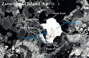 Satellite image of Zavodovski Island. IMAGE: Landsat 8/EOS Data Analytics. Annotated by: René Goad.