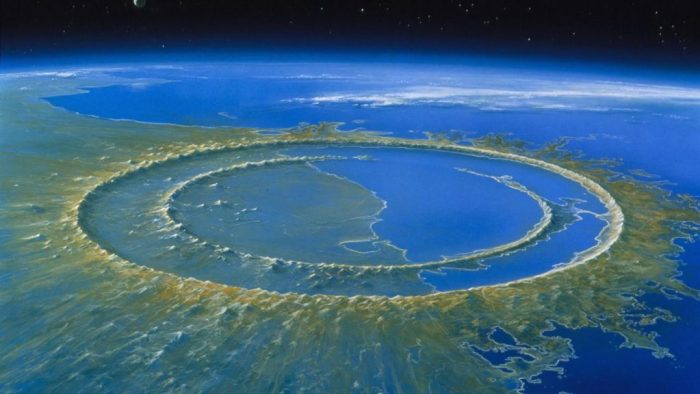 The original Chicxulub crater, before being buried by sediments