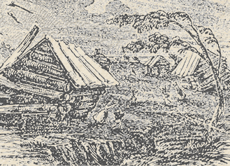 A woodcut depicting the New Madrid collapses