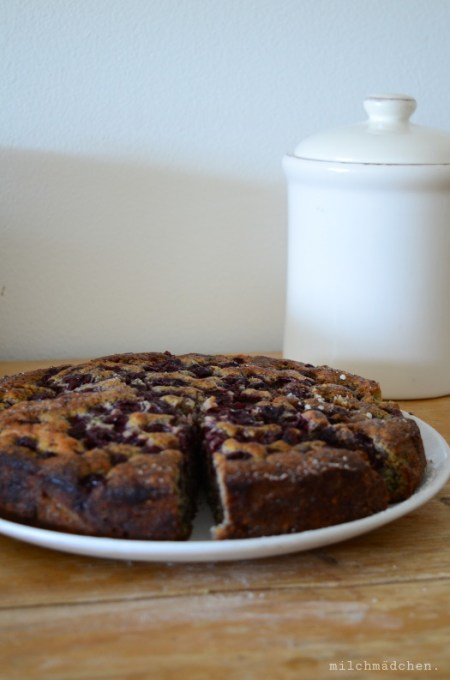 Mohnkuchen mit Sauerkirschen und Schokolade | milchmädchen,