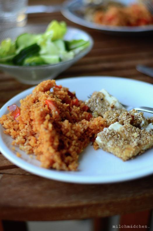 Paprika-Bulgur mit Sesam-Feta   milchmädchen.