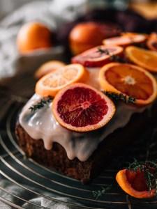 Blutorangen Schwarzer Sesam Kuchen