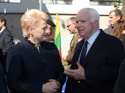 On 20 August 2015, NATO's Centre of Strategic Communication was inaugurated in Riga under the direction of Jānis Sārts, and in the presence of the director of a branch of the National Endowment for Democracy, John McCain (seen here in conversation with Lithuanian President Dalia Grybauskaitė). Photo : Gatis Dieziņš