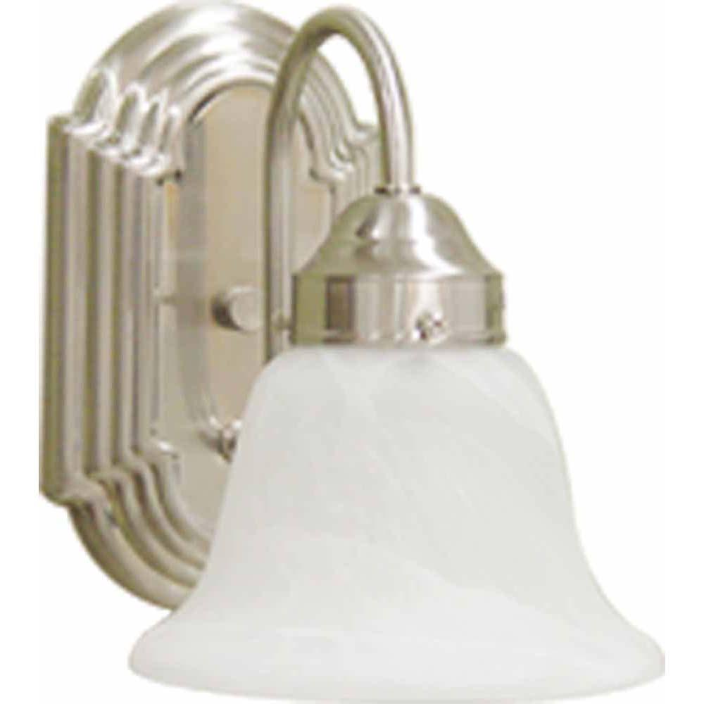 V6451 33 minster 1 light brushed nickel bathroom wall sconce volume lighting for Bathroom wall sconces brushed nickel