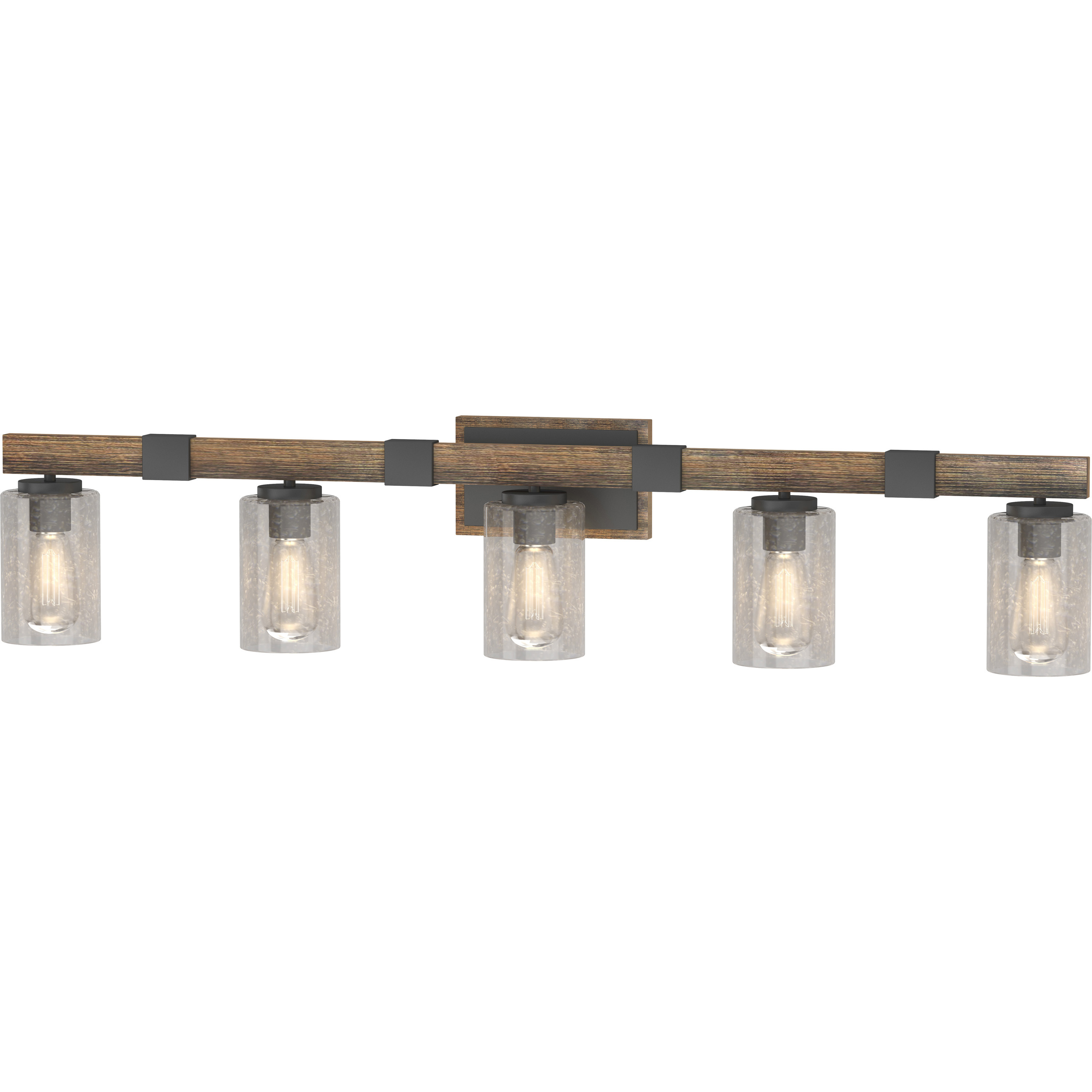 V4375 84 5 Light Indoor Black Walnut Bath Or Vanity Light Bar Or Wall Mount With Clear Seedy Bubble Glass Cylinder Shades Volume Lighting