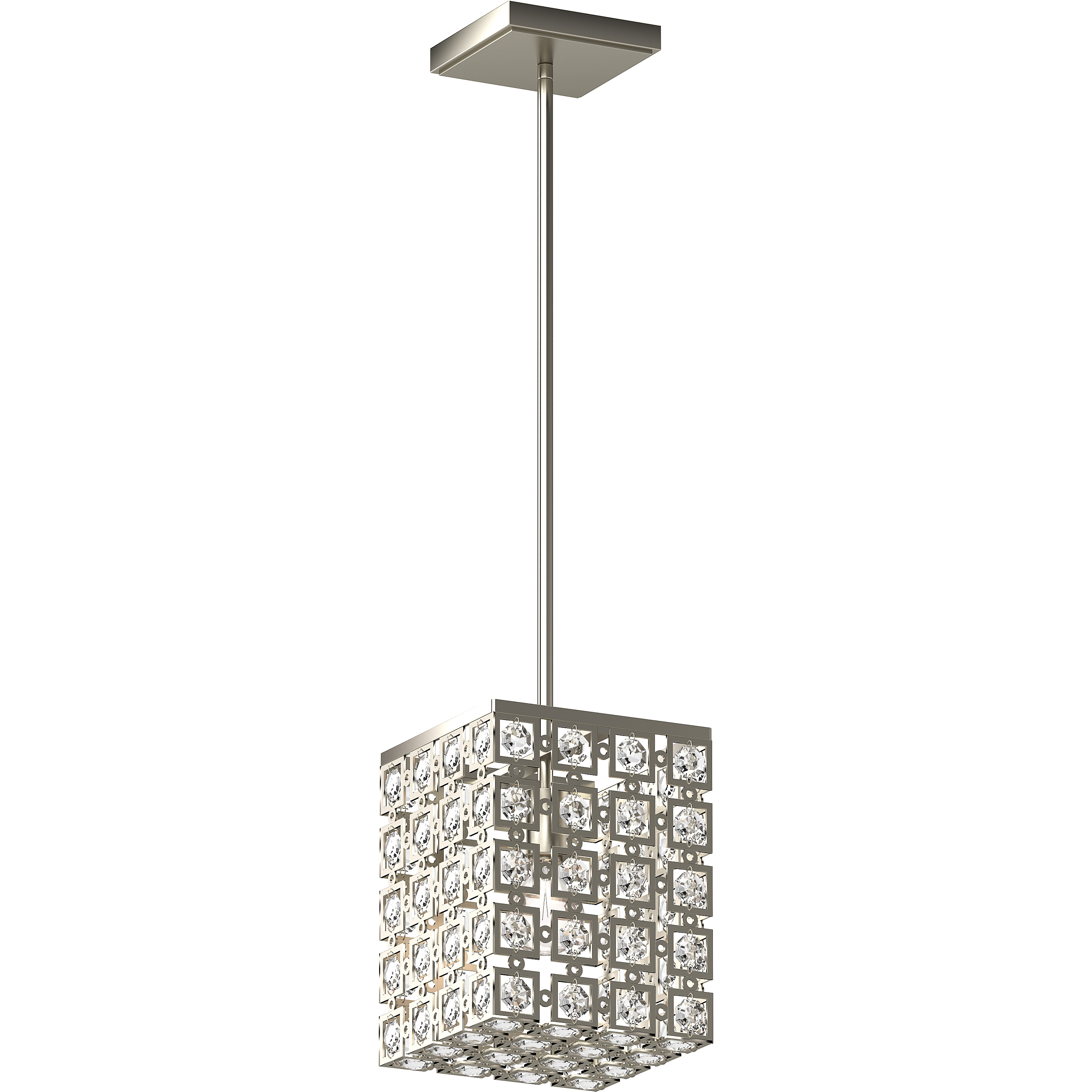 V5211 33 1 Light Indoor Elegant Glam Glamorous Brushed Nickel Square Rectangle Downrod Mini Pendant With Sparkling Bejeweled Glass Diamond Jewel Crystals Volume Lighting