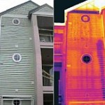 Volunteer Inspections Knoxville shows side by side the difference between normal signs and that of Infrared thermal imaging.