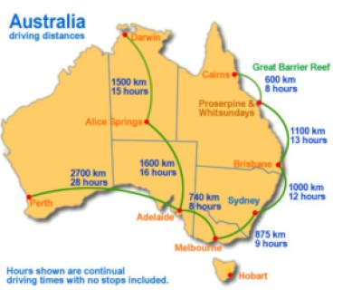 cartina distanze australia