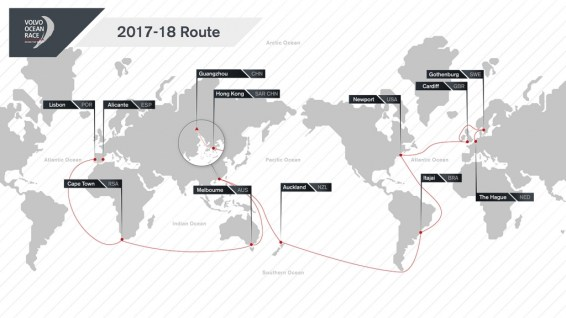 The latest version of the Volvo Ocean Race 2017-18 Route Map. The route will see the boats race three times more Southern Ocean miles than in recent editions, visiting 12 cities around the globe.