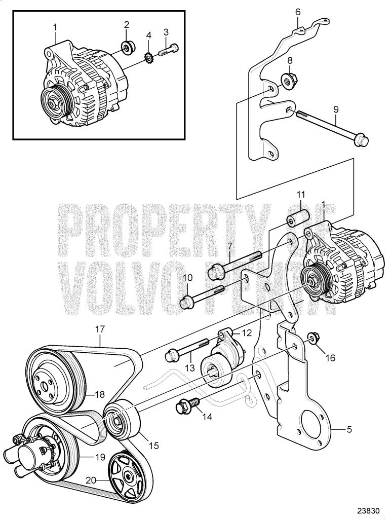 Serpentine belt and alternator 3 0glp j 3 0glp n 7747650 rh volvopentastore volvo penta