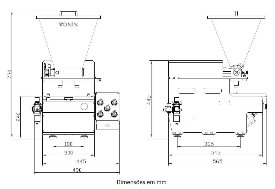 Desenho técnico da máquina dosadora DV5