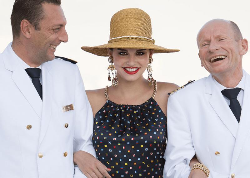 VONsociety: Cruise, Europa 2, F&B Manager Thomas Petrus, Model Iris Kavka, Hotel Manager Johann Schrempf © Paul Harris