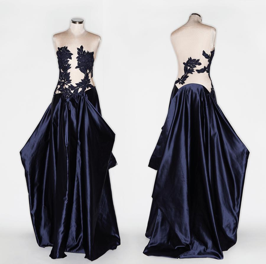 VONsociety: Ballkleider, Couture Kleid mit raffiniertem Oberteil aus Spitze von Michel Mayer © Katharina Harris