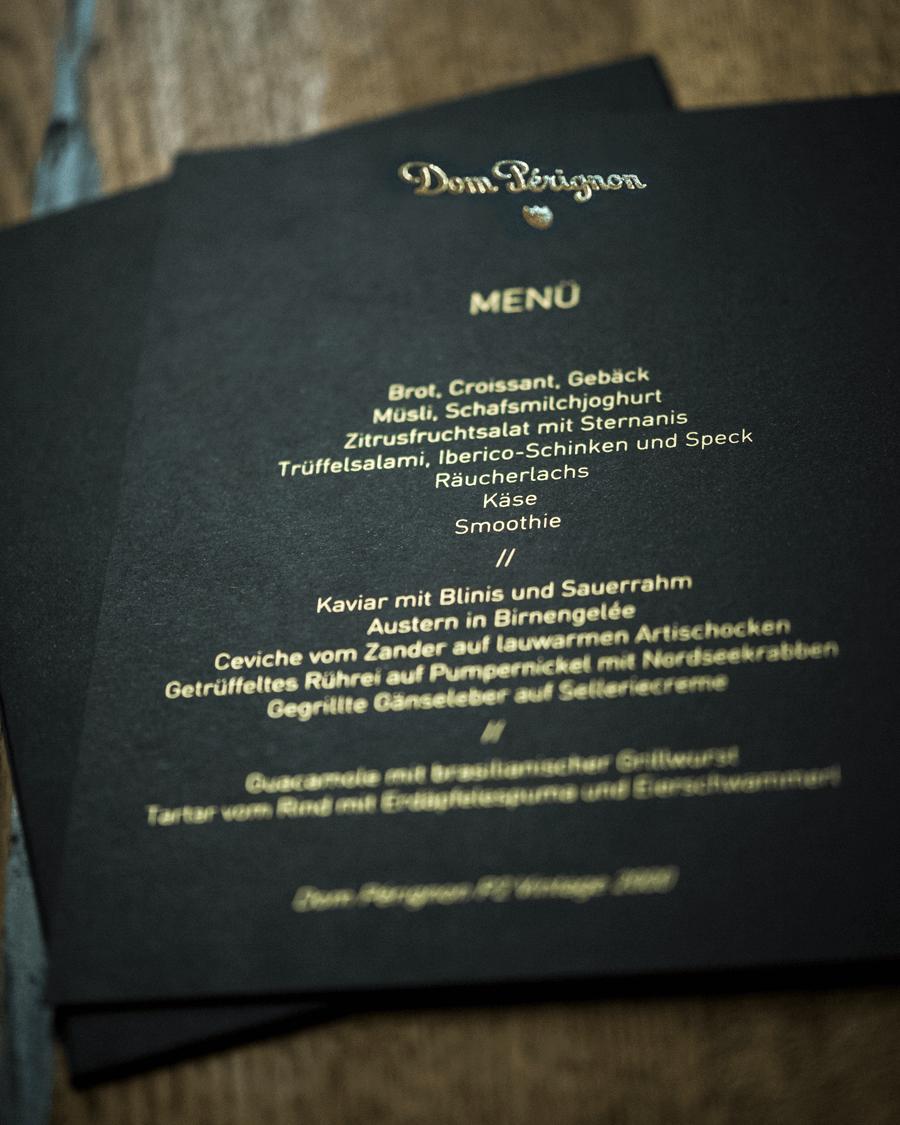 VONsociety: Erstverkostung Dom Pérignon P2 2000, Menü Karte von Country Club Chefkoch Reinhard Brandner
