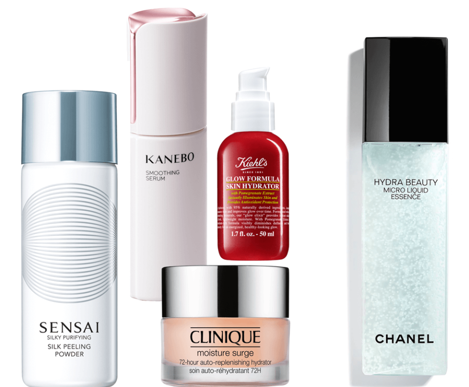 VONsociety: Healthy Glow, Sensai Silky Purifying Silk Peeling Powder, Kanebo Smooting Serum, Clinique Moisture Surge, Kiehl's Glow Formula Skin Hydrator, Chanel Hydra Beauty Liquid Essence