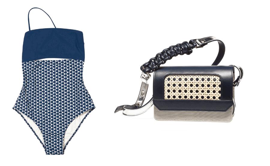 VONsociety: Monokini in dunkelblau und Tasche SAGA dunkelblau mit Winter Geflecht aus der Vöslauer Thermalbad Kollektion