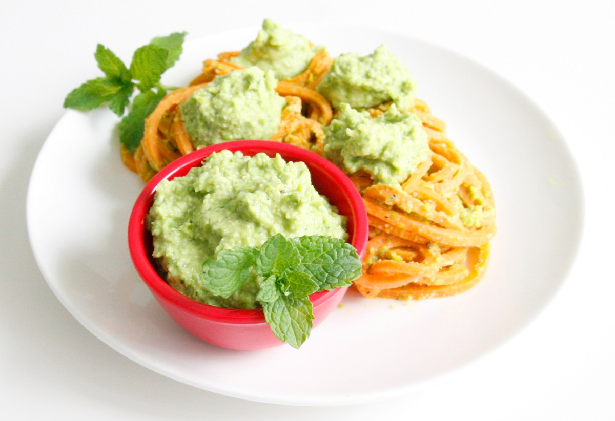 Sweet Potato Noodles with Creamy Pea and Mint Pesto