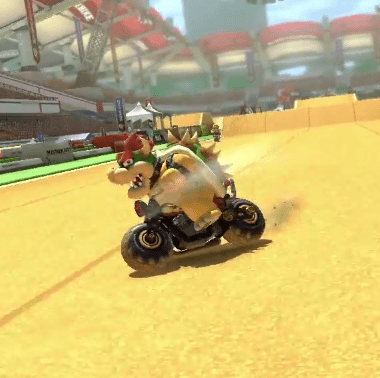 Bowser in Mario Kart 8's Excitebike Arena track