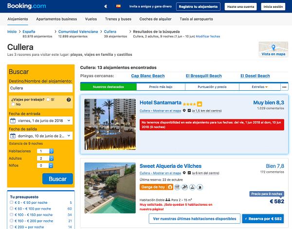 Booking hoteles playa