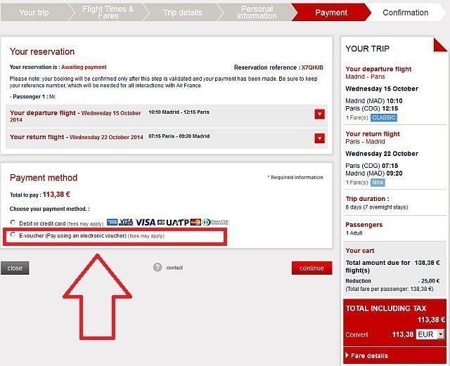 e-voucher code airfrance