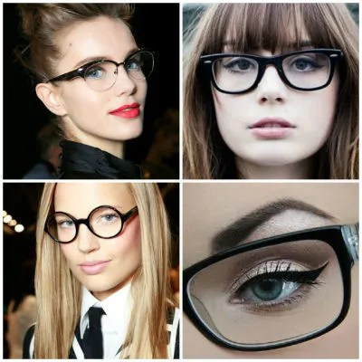 collage maquillaje lentes