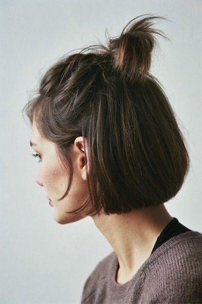 peinados para cabello corto, media cola