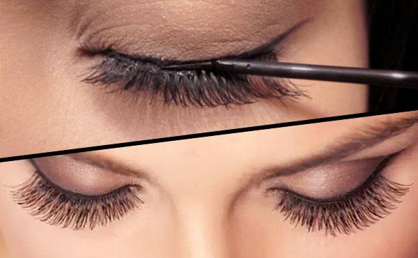 delinear párpado y aplicar maquillaje