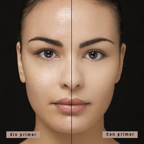 Ejemplo de cómo luce tu rostro con o sin primer