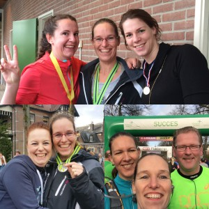 Topper Maaike, super-supporte Ilse, kanjer Iris, bondgenoot tijdens de race Karen en loopmaatje Hans