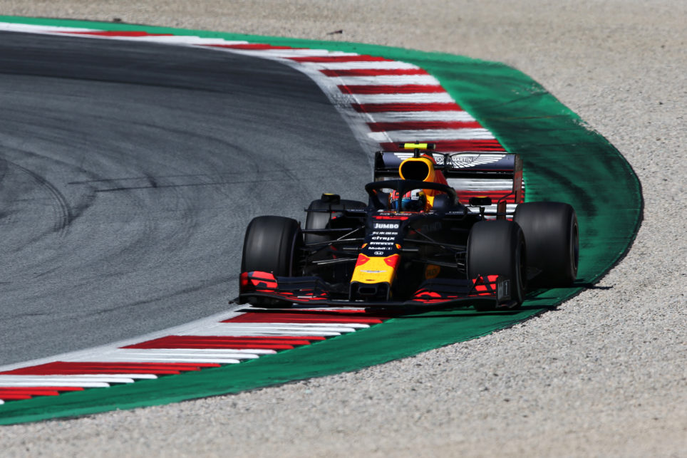 SPIELBERG, AUSTRIA - JUNE 30: Pierre Gasly of France driving the (10) Aston Martin Red Bull Racing RB15 on track during the F1 Grand Prix of Austria at Red Bull Ring on June 30, 2019 in Spielberg, Austria. (Photo by Charles Coates/Getty Images)