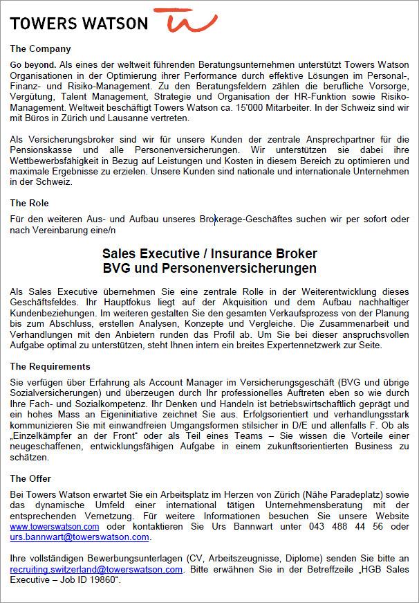 Sales Executive / Insurance Broker BVG und Personenversicherungen