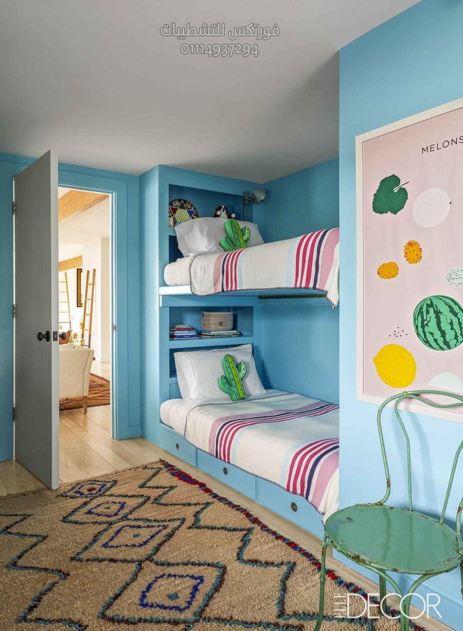 غرف نوم اطفال بسريرين منفصلين ودولاب جرار غرف أطفال