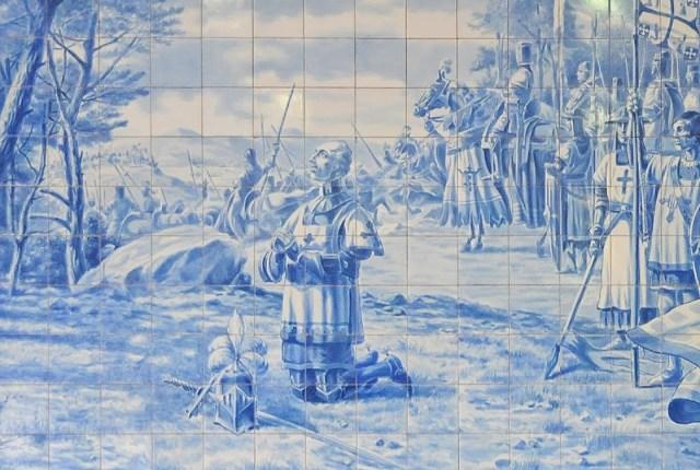 Painel alusivo à Batalha de Aljubarrota