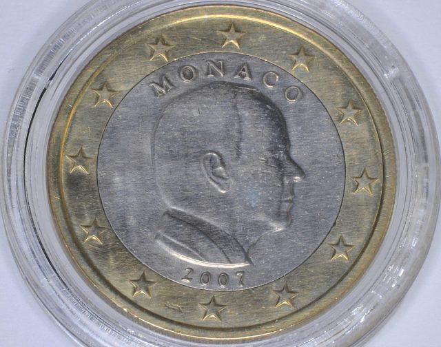 Mónaco 1 euro de 2007 com erro