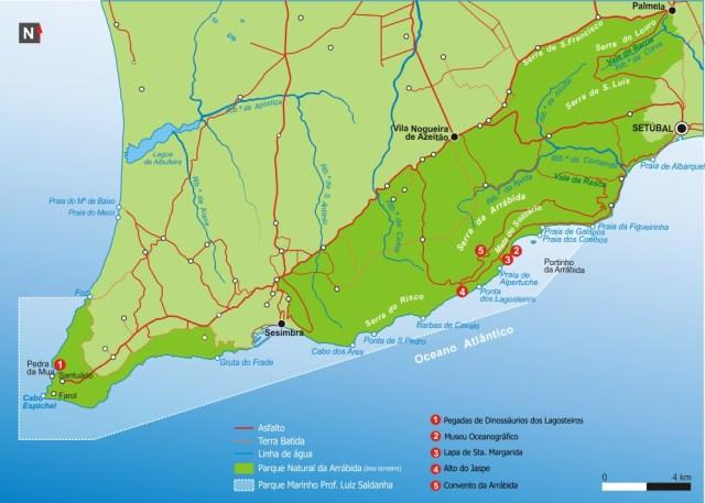 Mapa do Parque Natural da Serra da Arrábida