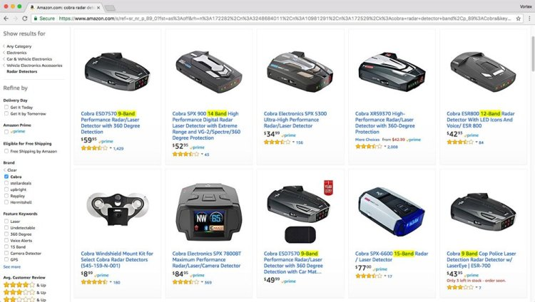 Cobras on Amazon with different bands