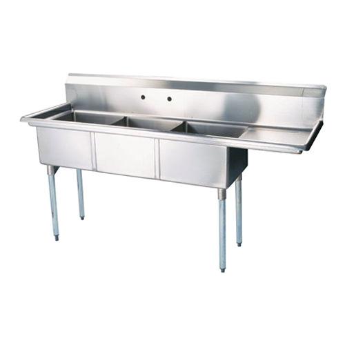 efi si818 3rc 18 x 18 x 11 center drain three compartment sink with right drain board