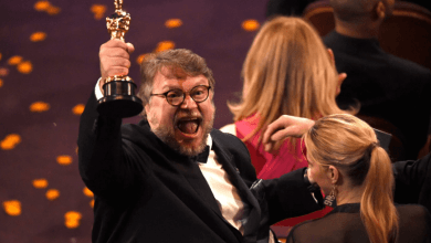 """Guillermo del Toro, winner of the award for best director for """"The Shape of Water,"""" celebrates in the audience at the Oscars on Sunday at the Dolby Theatre in Los Angeles."""