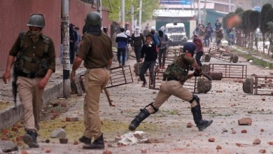 Students and police clash outside a college in Srinagar on April 5, 2018. Danish Ismail/Reuters