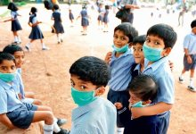 children wearing air mask
