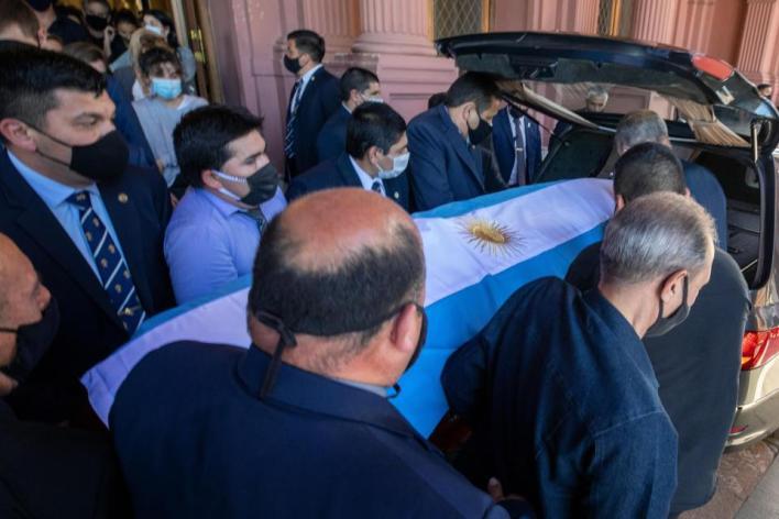 Maradona funeral procession near Buenos Aires
