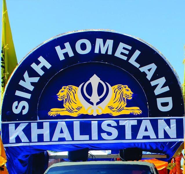 Khalistan flags hoisted outside World Hotel.