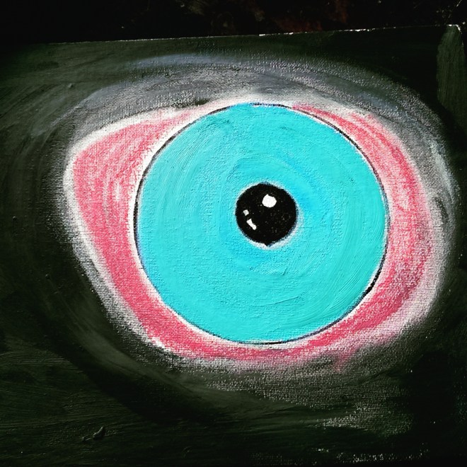 Image of an eye on a black and blue background. Titled Red Eye, by Jordan Wunderlich.