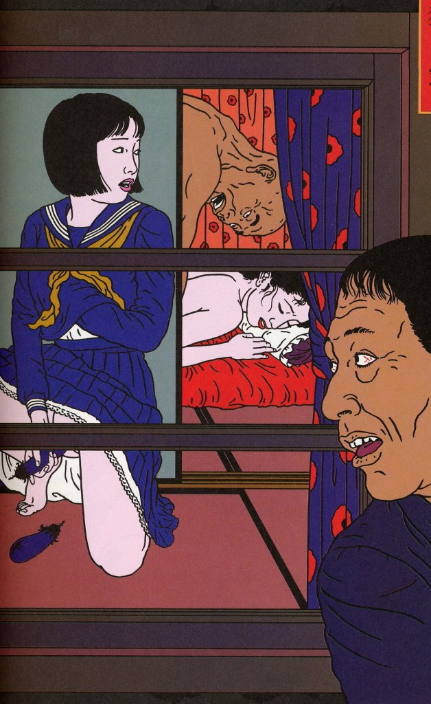 Image of a woman being watched as she touches herself while she herself watches others
