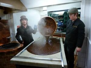 pouring fudge