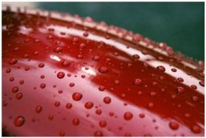 gouttes d'eau sur ongle vernis macro