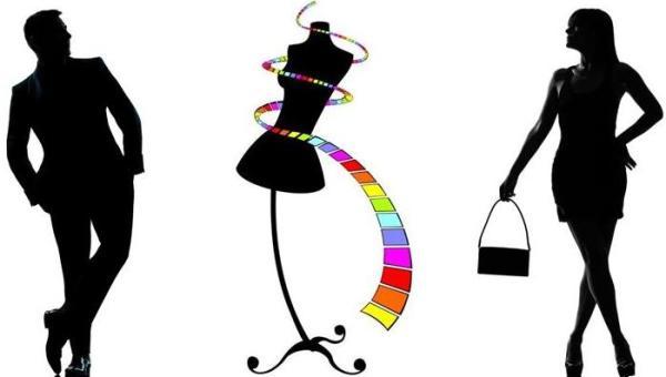 silhouette ombre d'un homme et d'une femme autour d'un mannequin de couturier